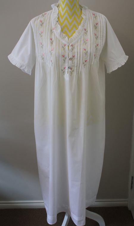 Night Gown - Rosebud Tucks - Now Available in Sizes L/XL & XL/XXL