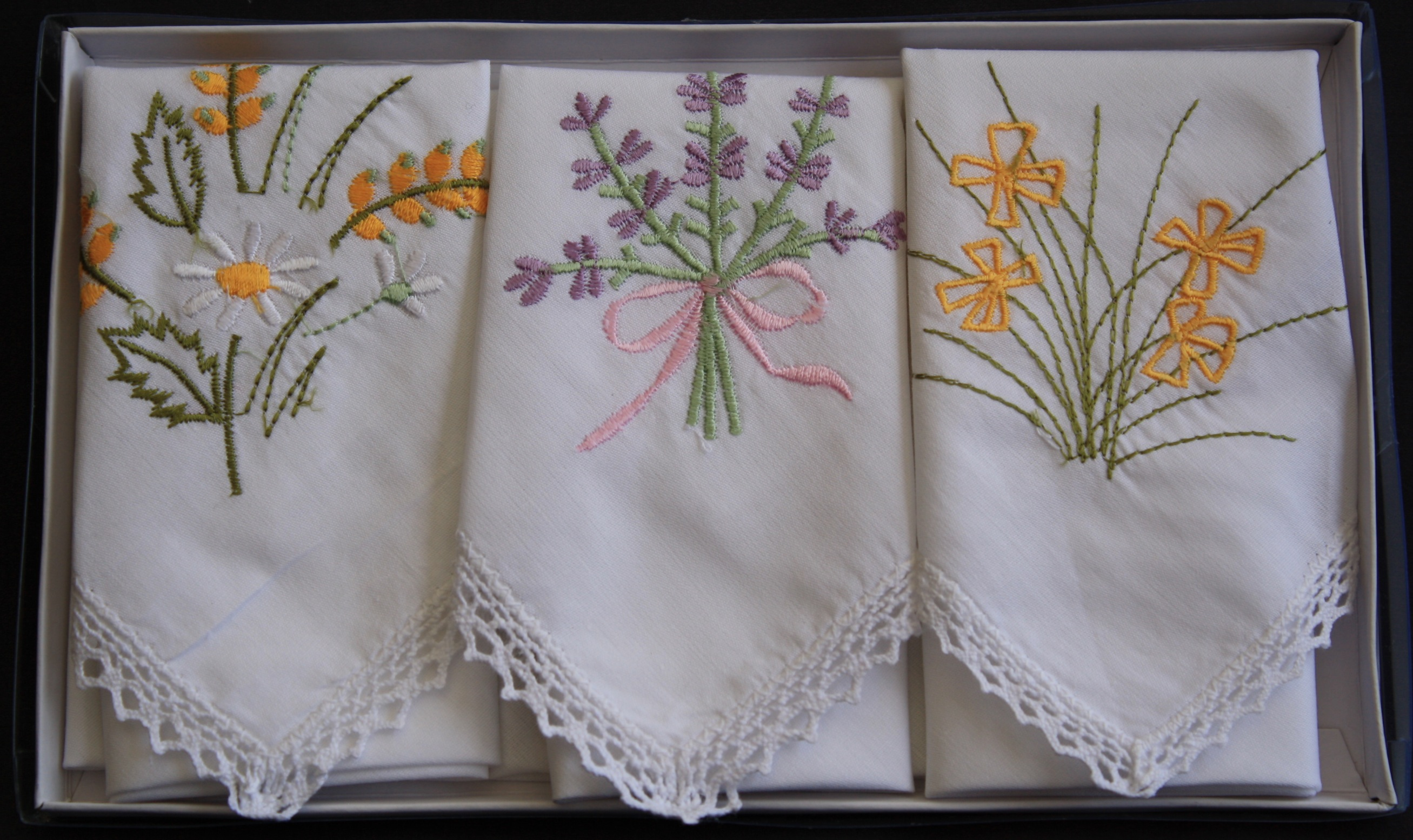 Embroidered Handkerchiefs - Set of 3