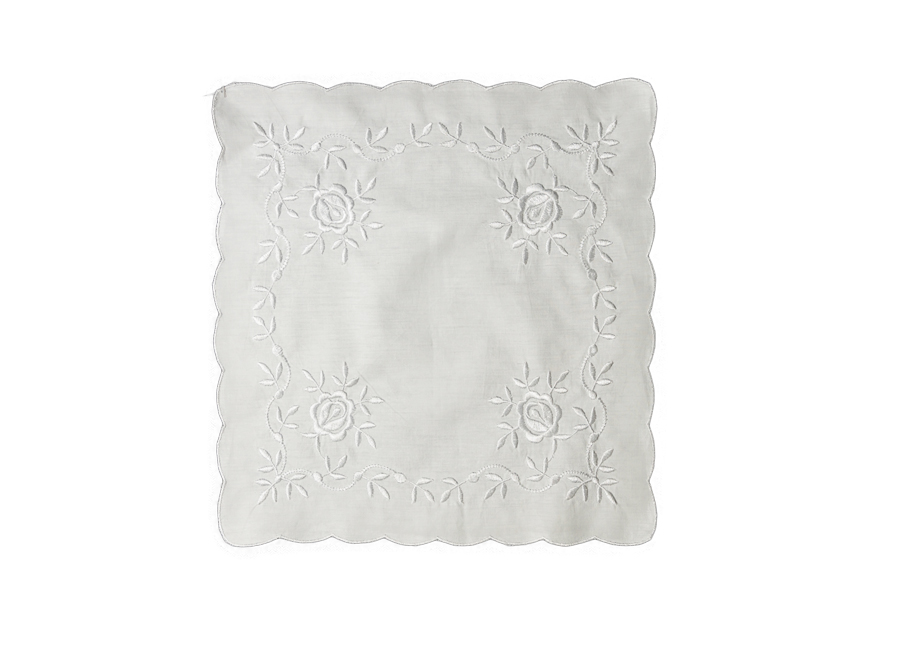 White Handkerchief - Roses Embroidery