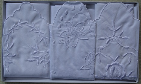 Handkerchief - Set of 3 - Hearts/Roses/Lilies
