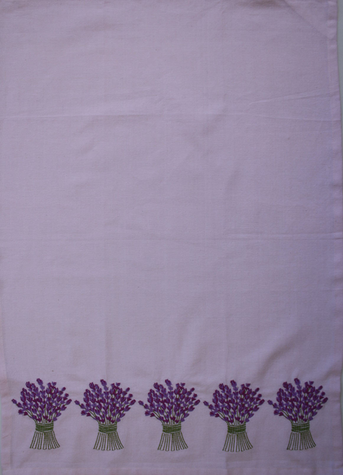 Tea Towel - Lavender Bouquet Border Embroidery