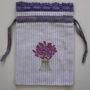 Lavender Bouquet Embroidered Drawstring Lavender Bag (Empty)