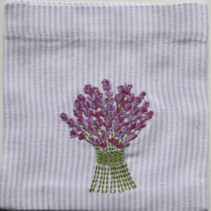 Lavender Bouquet Embroidered Sachet (Empty) 14x14cm
