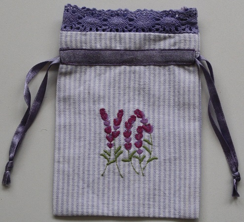 Lavender Embroidered Drawstring Lavender Bag (Empty)