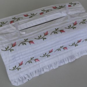 Tissue Box Cover - Rosebud Tucks