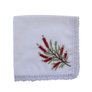 Embroidered Handkerchief - Bottlebrush (single)
