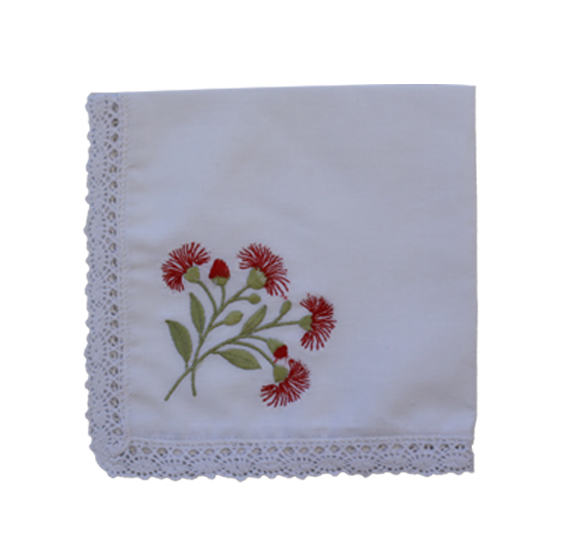 Embroidered Handkerchief - Flowering Gum (Single)