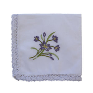 Embroidered Handkerchief - Iris (single)