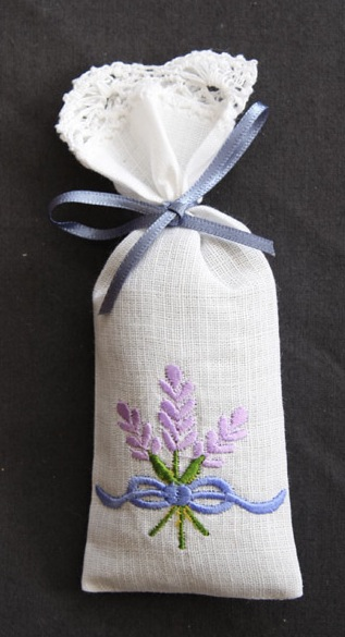 Tiny Filled Lavender Bag Embroidered
